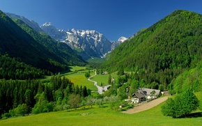 Picture greens, the sky, grass, trees, mountains, home, spring, valley, Alps
