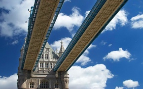 Picture the sky, clouds, bridge, tower, support