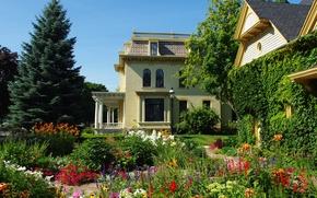 Picture flowers, house, Villa, garden