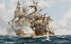 Picture sea, sails, frigates, sailors