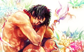 Picture look, flowers, anime, art, beads, guy, One Piece, art, Portgas D Ace, One Piece