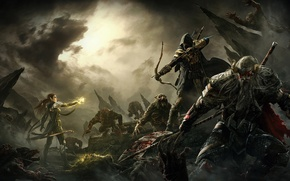 Picture clouds, weapons, rocks, magic, blood, bow, monsters, battle, halberd, The Elder Scrolls Online