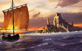 Wallpaper sea, landscape, castle, shore, boat, seagulls, kit, sail, The Witcher 3: Wild Hunt, Geralt, The ...