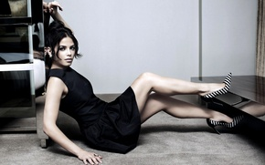 Picture girl, dress, actress, brunette, black, shoes, Jenna Dewan-Tatum, Jenna Dewan-Tatum