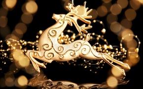 Wallpaper holidays, figure, gold, deer, bokeh, New Year, Christmas, decoration, Christmas