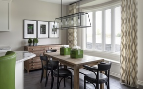 Picture design, table, lamp, chairs, dining room