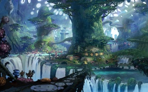Picture trees, home, art, waterfalls, travelers
