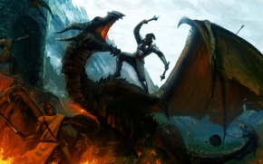 Wallpaper mountains, weapons, fire, dragon, sword, warrior, art, battle, shield, Mace