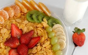 Wallpaper glass, orange, food, kiwi, milk, strawberry, grapes, plug, banana, dessert, food, cup, grape, sweet, orange, ...