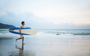 Picture sand, beach, stay, shore, male, Board, guy, surfing, surfer