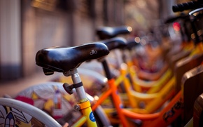 Wallpaper bike, widescreen, bicycle, bikes, blur, HD wallpapers, Wallpaper, different, full screen, seat, background, yellow, fullscreen, ...