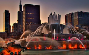Picture the city, home, the evening, backlight, Chicago, fountain, USA, Illinois