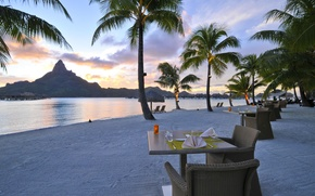 Picture beach, ocean, sunset, Bora-Bora, resort, restaurant on the beach, romantic dining