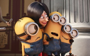 Picture cinema, woman, yellow, eyes, smile, microphone, england, Kevin, cartoon, movie, queen, film, Cyclops, Minions, adventure, …