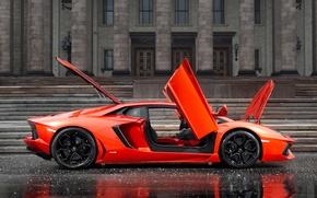 Picture the building, orange, door, side view, Lamborghini, lamborghini lp700-4 aventador, aventador лп700-4