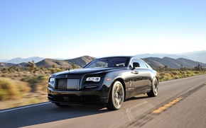 Wallpaper Rolls-Royce, speed, chic, Rolls-Royce, road, Wraith, car, the sky, Black Badge