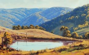 Wallpaper greens, lake, pond, hills, the fence, art, artsaus