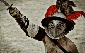 Picture sword, armor, helmet, Gladiator, greeting