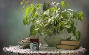 Picture tea, books, cookies, still life, cherry
