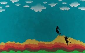 Wallpaper The sky, Clouds, People, Rainbow, Flight