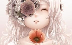 Picture water, girl, flowers, smile, Mac, art, bouno satoshi