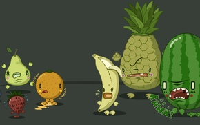 Picture berries, situation, orange, humor, watermelon, pear, fruit, pineapple, banana, large, situations, the malenik