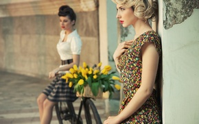 Picture girl, face, background, hair, makeup, dress, profile