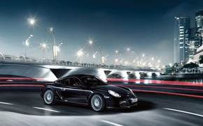 Wallpaper Porche, night, the city, black
