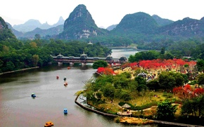 Picture bridge, the city, Park, river, China, the mountains of Guilin