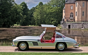 Picture grass, trees, lake, house, silver, silver, house, grass, Mercedes, lake, tree, Mercedes-Benz, 300 sl