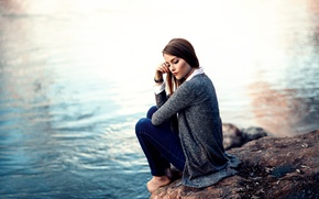 Picture water, girl, Alessandro Di Cicco, stone, barefoot, Time to think