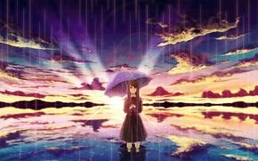 Picture the sky, water, girl, the sun, clouds, sunset, reflection, rain, umbrella, anime, art, amemura