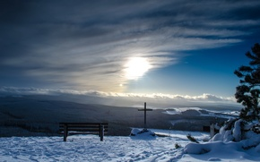 Picture landscape, mountains, cross, bench