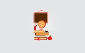 Wallpaper books, Apple, pencil, Board, school, brush, globe, center, bookmark, textbooks, vial