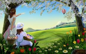 Wallpaper flowers, ball, baskets, Two, air, girls