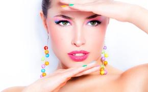 Wallpaper pose, model, female, makeup, hands