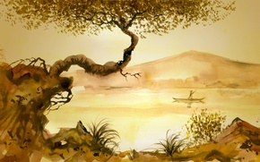 Picture grass, river, tree, people, Chinese painting, junk