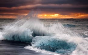 Picture wave, autumn, beach, the sky, clouds, squirt, ice, morning, excerpt, Iceland, October