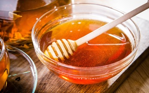 Picture tea, honey, spoon, Cup, Board, honey, bowl