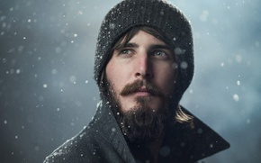 Picture snow, hat, portrait, man
