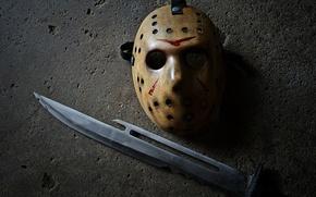Wallpaper mask, Jason, Friday the 13th, knife, Jason