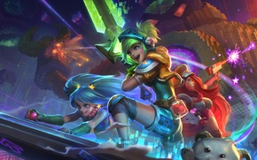Wallpaper League of Legends, fan art, Bounty Hunter, Riven, sona, Miss Fortune, Maven of the Strings, ...