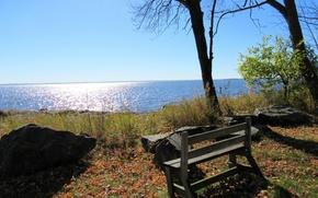 Picture sea, autumn, bench, nature, panorama, Nature, sea, panorama, autumn, fall