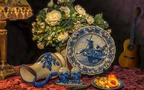 Picture flowers, style, lamp, roses, bouquet, plate, dishes, pitcher, nuts, still life, peaches, ukulele