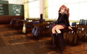 Wallpaper girl, glasses, form, class, vocaloid, school, desks, sitting, rongsama