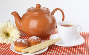 Picture kettle, tea, Cup, cupcakes, tube, flower