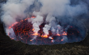 Picture lake, lava, stratovolcano, Mount Nyiragongo, Virunga National Park, Democratic Republic of the Congo, Cai Tjeenk …
