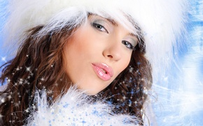 Wallpaper winter, eyes, holiday, maiden