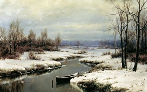 Picture water, snow, trees, boat, picture, river, painting, 'ts, the beginning of winter