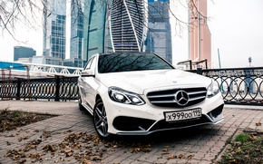 Picture The city, Mercedes, Benz, E-class, AMG, Moscow-City